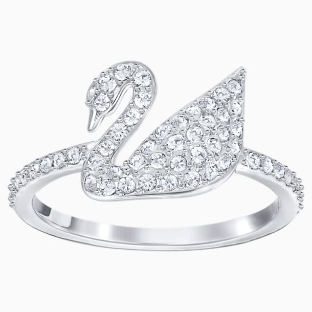 Swarovski Iconic Swan Ring, White, Rhodium plated - Swarovski, 5250743