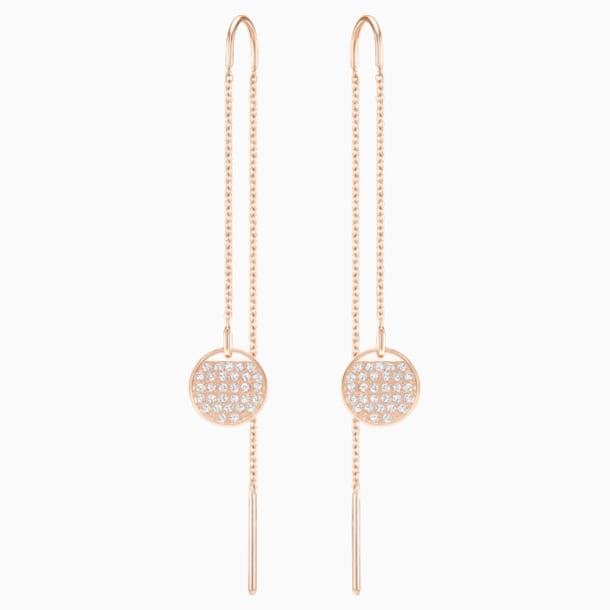Ginger Chain Pierced Earrings, White, Rose-gold tone plated - Swarovski, 5253285