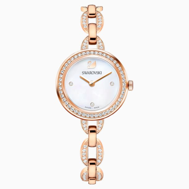 Aila Mini Watch, Metal bracelet, Rose-gold tone PVD - Swarovski, 5253329