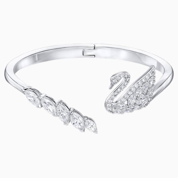 Swan Lake Bangle, White, Rhodium plated - Swarovski, 5258397