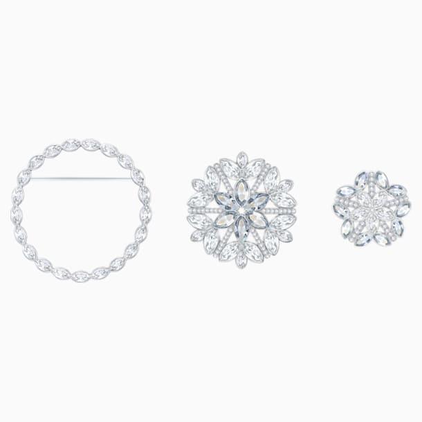 Ginette Brooch Set, White, Rhodium plated - Swarovski, 5262279