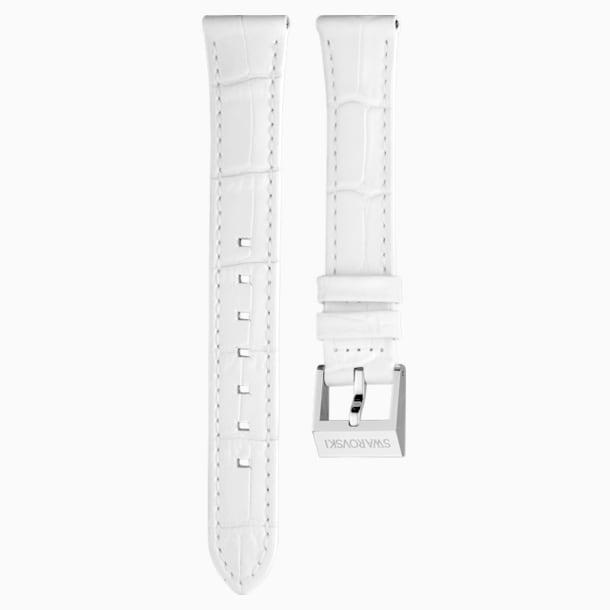 14mm Watch strap, Leather with stitching, White, Stainless Steel - Swarovski, 5263535