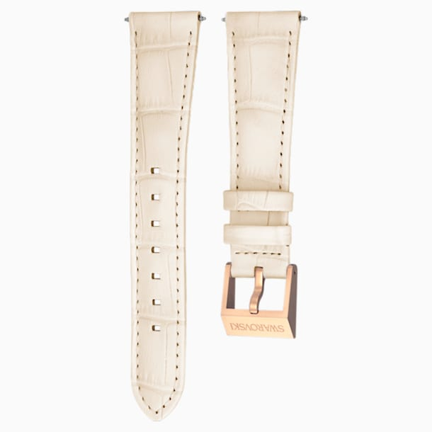18mm Watch strap, Leather with stitching, Beige, Rose-gold tone plated - Swarovski, 5263558