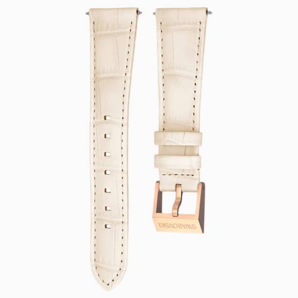18mm Watch strap, Leather with stitching, Beige, Rose-gold tone plated - Swarovski, 5263559