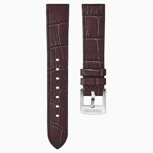 18mm Watch strap, Leather with stitching, Dark brown, Rose-gold tone plated - Swarovski, 5263562