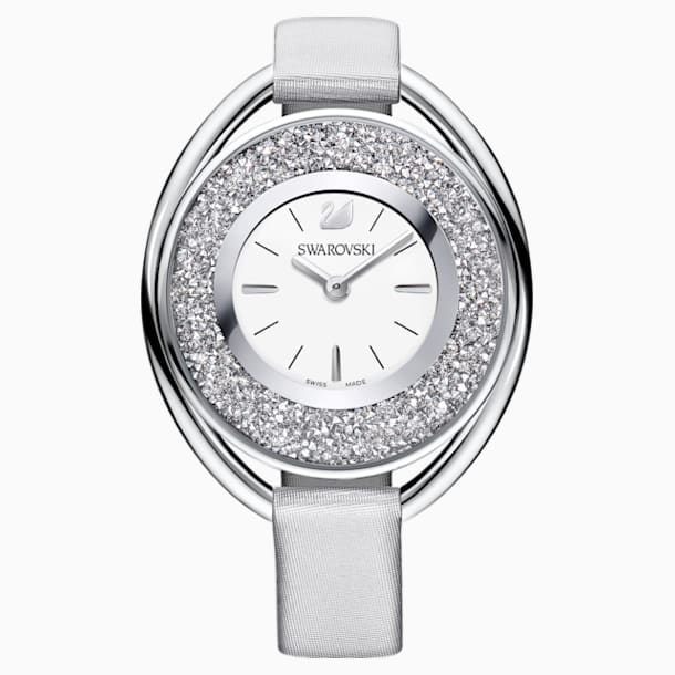 Crystalline Oval Watch, Fabric Strap, Grey, Silver Tone - Swarovski, 5263907