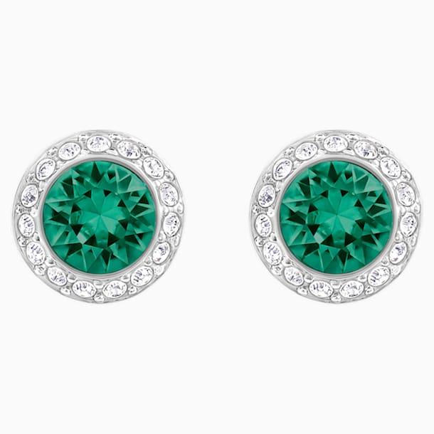 Angelic Pierced Earrings, Green, Rhodium plated - Swarovski, 5267105