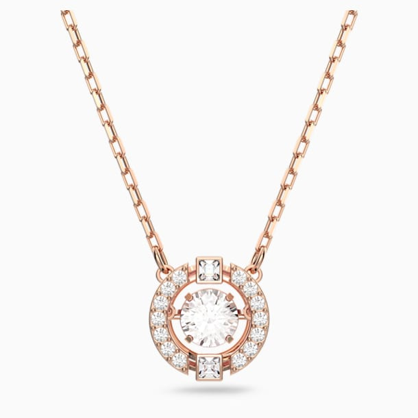 Swarovski Sparkling Dance Round Necklace, White, Rose-gold tone plated - Swarovski, 5272364