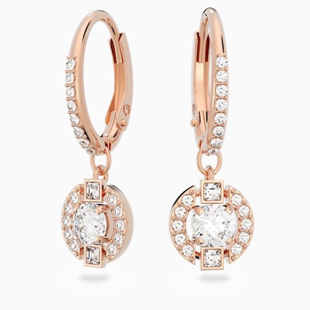 Swarovski Sparkling Dance Round 穿孔耳環, 白色, 鍍玫瑰金色調 - Swarovski, 5272367