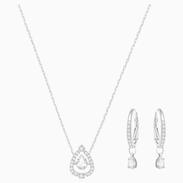 Sparkling Dance Pear Set, Small, White, Rhodium Plating - Swarovski, 5272368