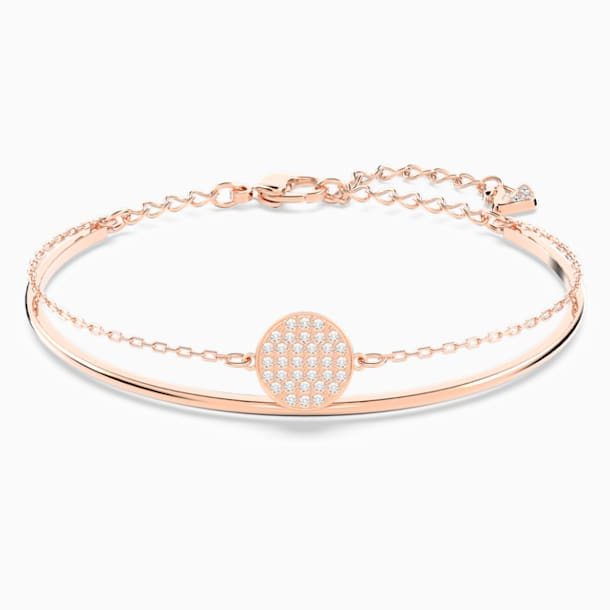 Ginger Bangle, White, Rose-gold tone plated - Swarovski, 5274892