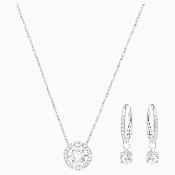 Sparkling Dance Round Set, Small, White, Rhodium Plating - Swarovski, 5279018