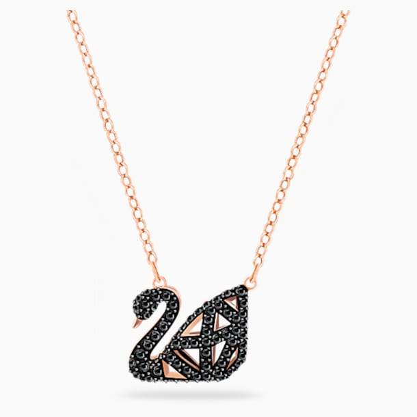 Facet Swan Necklace, Black, Mixed metal finish - Swarovski, 5281275