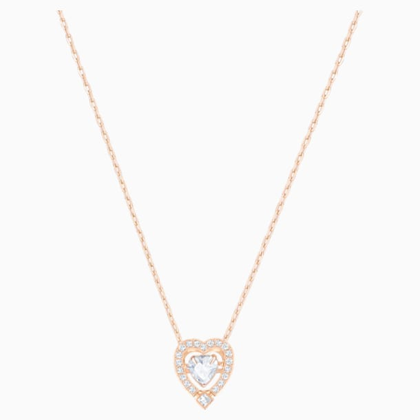 Colar Swarovski Sparkling Dance Heart, branco, banhado a rosa dourado - Swarovski, 5284188