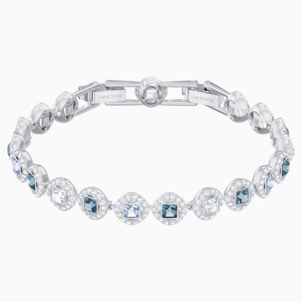 Angelic Square Bracelet, Blue, Rhodium plated - Swarovski, 5289514