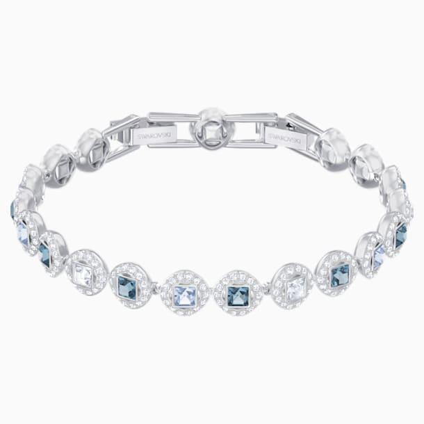 Angelic Square Bracelet, Blue, Rhodium plated - Swarovski, 5289514