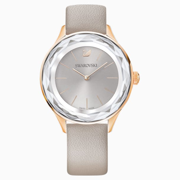 Octea Nova Watch, Leather strap, Grey, Rose-gold tone PVD - Swarovski, 5295326