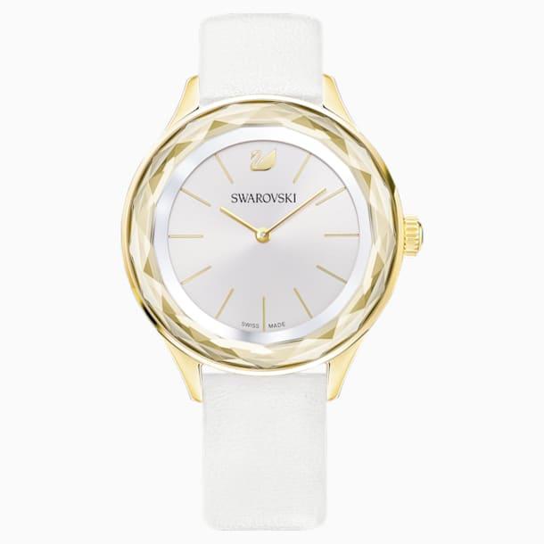 Octea Nova Watch, Leather strap, White, Gold-tone PVD - Swarovski, 5295337