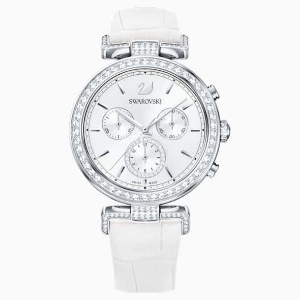 Era Journey Watch, Leather strap, White, Stainless steel - Swarovski, 5295346