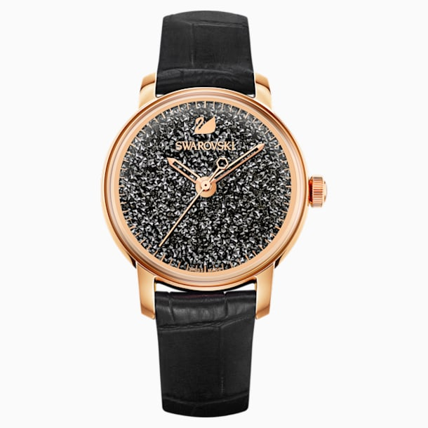 Zegarek Crystalline Hours, pasek ze skóry, czarny, powłoka PVD w odcieniu różowego złota - Swarovski, 5295377