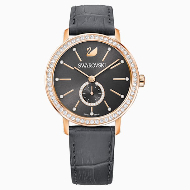 Graceful Lady 手錶, 真皮錶帶, 灰色, 玫瑰金色調PVD - Swarovski, 5295389
