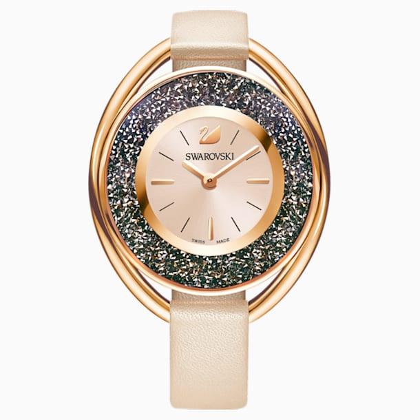 Crystalline Oval 手錶, 真皮錶帶, 米色, 玫瑰金色調 - Swarovski, 5296319