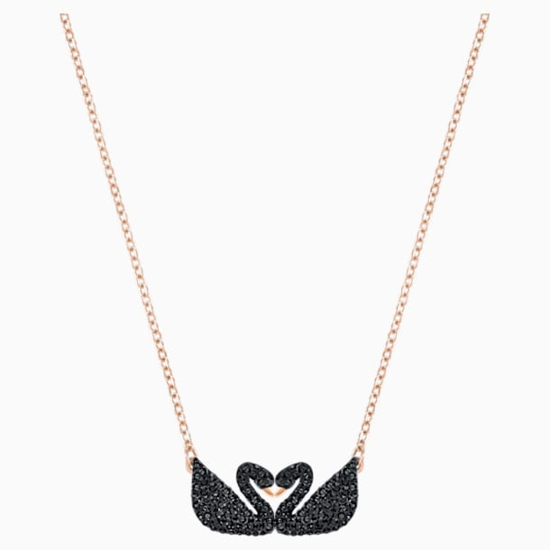 Κολιέ Κύκνος Swarovski Iconic Swan, μαύρο, επιχρυσωμένο σε χρυσή ροζ απόχρωση - Swarovski, 5296468