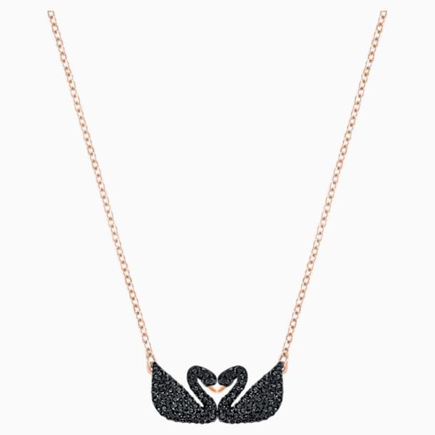 Swarovski Iconic Swan Halskette, schwarz, Rosé vergoldet - Swarovski, 5296468