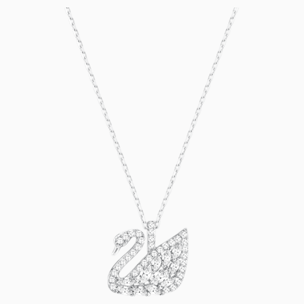Swan Lake Pendant, White, Rhodium plated - Swarovski, 5296469