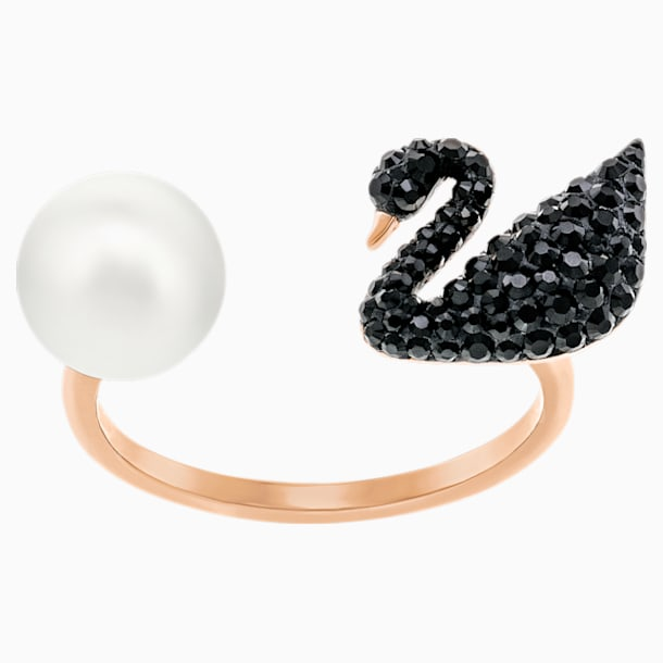 Iconic Swan Open Ring, Black, Rose-gold tone plated - Swarovski, 5296471