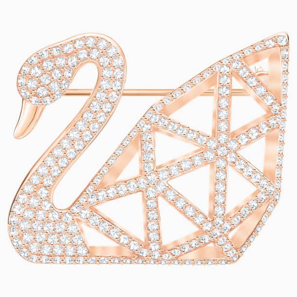 Facet Swan Brooch, White, Rose-gold tone plated - Swarovski, 5297353