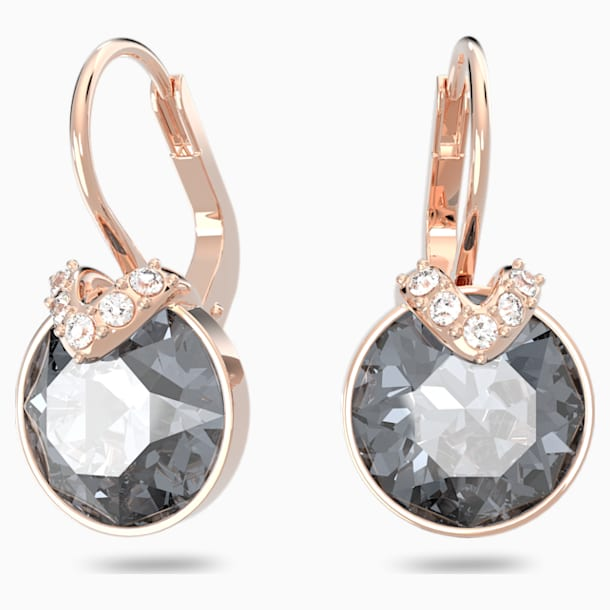Brincos para orelhas furadas Bella V, cinzentos, banhados com tom rosa dourado - Swarovski, 5299317
