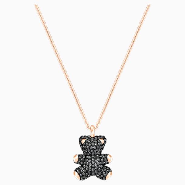 Teddy 3D Pendant, Black, Rose-gold tone plated - Swarovski, 5300448