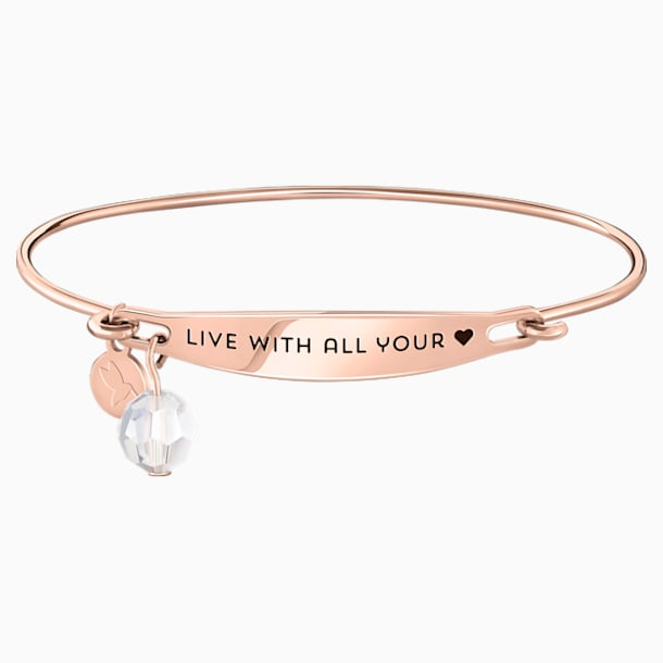 Live With All Your Heart ID Bangle - Rosegold - Swarovski, 5301774