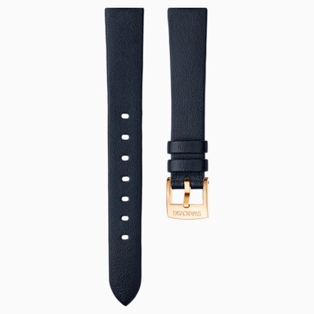 14mm Watch strap, Leather, Black, Rose-gold tone plated - Swarovski, 5301922