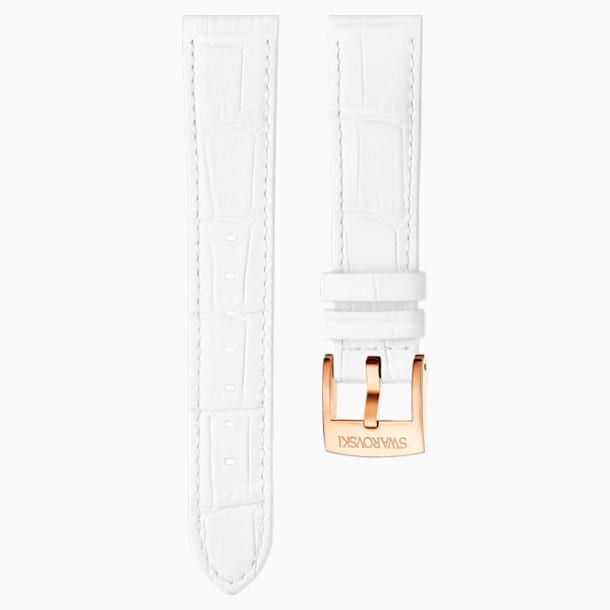 18mm Watch strap, Leather with stitching, White, Rose-gold tone plated - Swarovski, 5302459