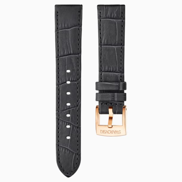 18mm Watch strap, Leather with stitching, Dark grey, Rose-gold tone plated - Swarovski, 5302460