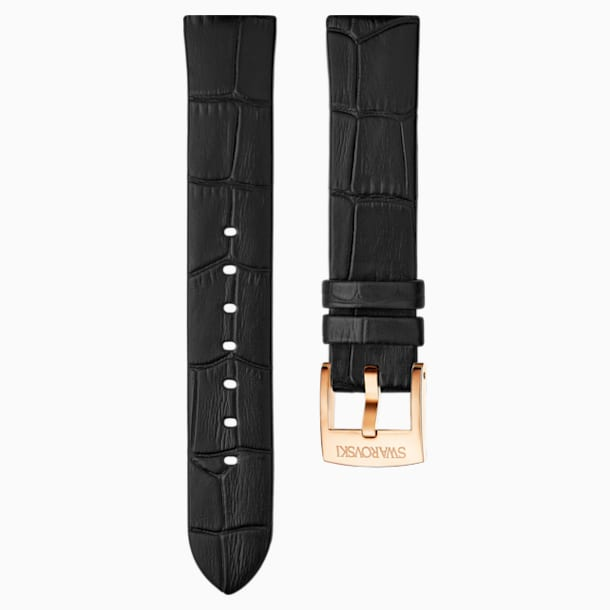 18mm 錶帶, 皮革, 黑色, 鍍玫瑰金色調 - Swarovski, 5348552