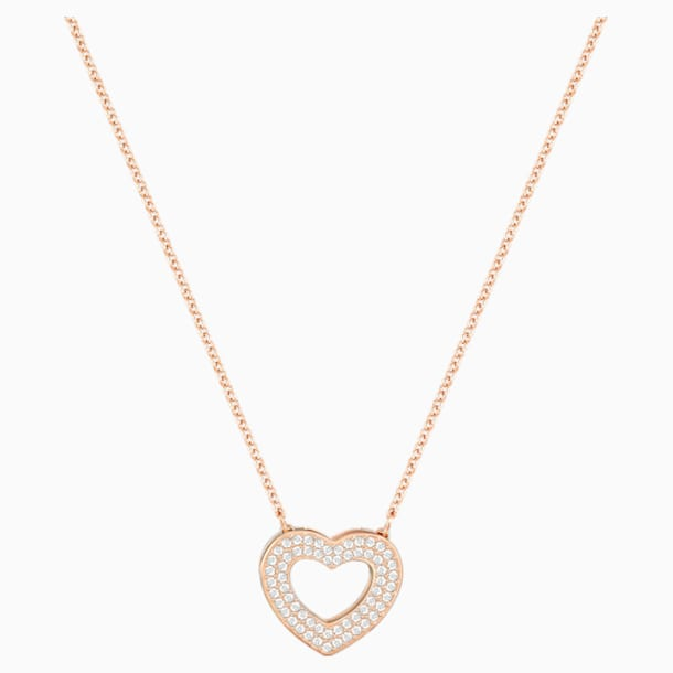 Admiration Heart Necklace, White, Rose-gold tone plated - Swarovski, 5348670