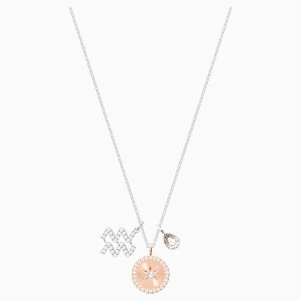 Zodiac Pendant, Aquarius, Gray, Rhodium plated - Swarovski, 5349213