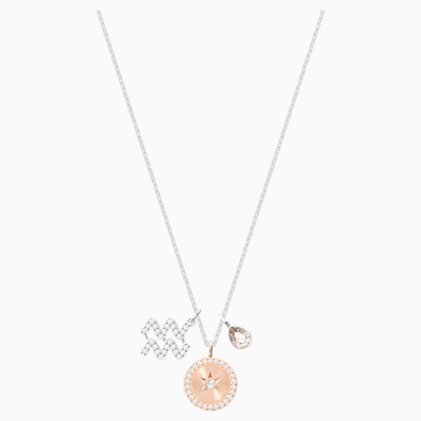 Zodiac Pendant, Aquarius, Gray, Rhodium plated - Swarovski, 5349213