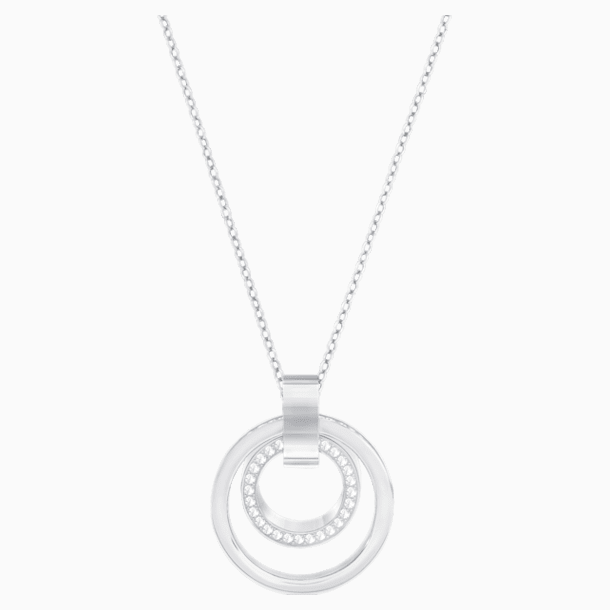 Hollow Pendant, White, Rhodium plated - Swarovski, 5349345