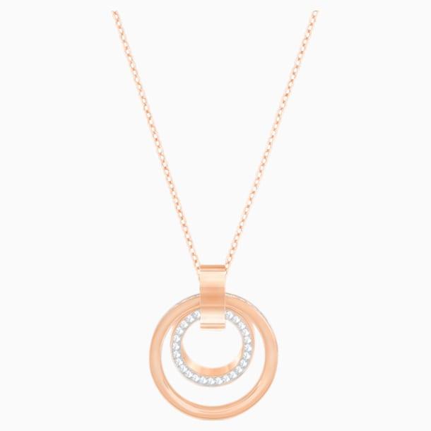 Hollow Pendant, White, Rose-gold tone plated - Swarovski, 5349418