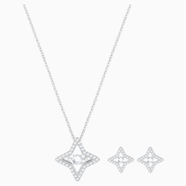 Sparkling Dance Star Set, White, Rhodium plated - Swarovski, 5349667