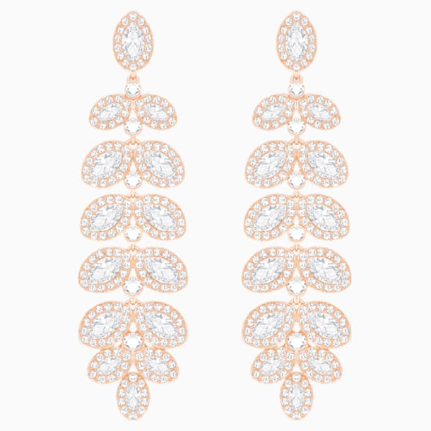 Baron Pierced Earrings, White, Rose-gold tone plated - Swarovski, 5350617