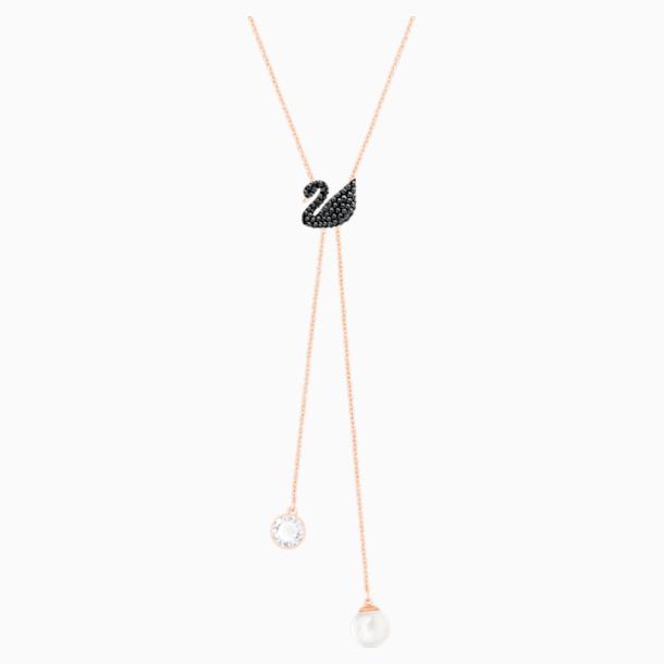 Collar en Y Swarovski Iconic Swan, negro, Baño en tono Oro Rosa - Swarovski, 5351806