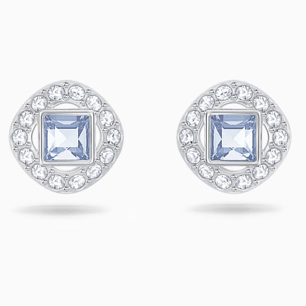 Angelic Square Pierced Earrings, Blue, Rhodium plated - Swarovski, 5352048