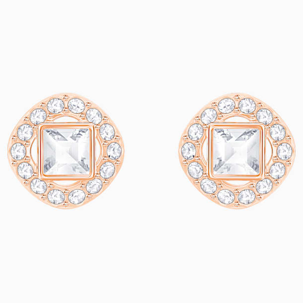 Angelic Square Pierced Earrings, White, Rose-gold tone plated - Swarovski, 5352049