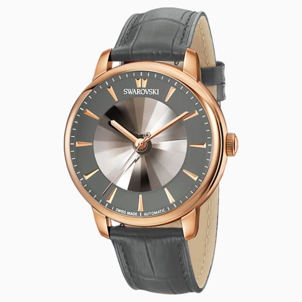 Atlantis Limited Edition Automatic Men's Watch, Leather strap, Gray, Rose-gold tone PVD - Swarovski, 5364203