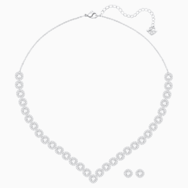 Set Angelic Square, bianco, Placcatura rodio - Swarovski, 5364318